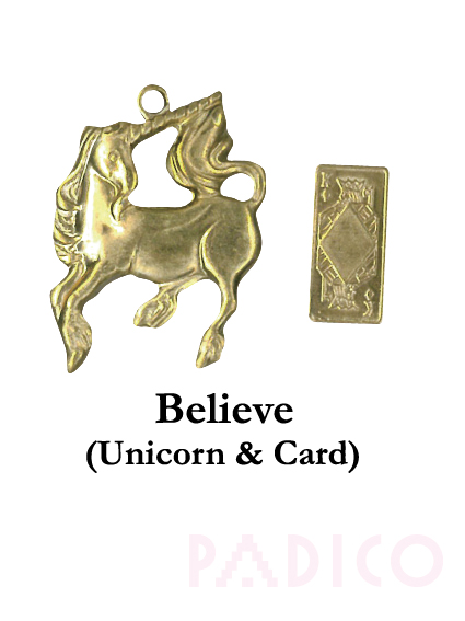 Brass Charm Unicorn & Card