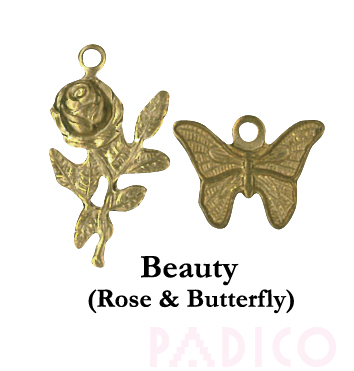 Brass Charm Rose & Butterfly