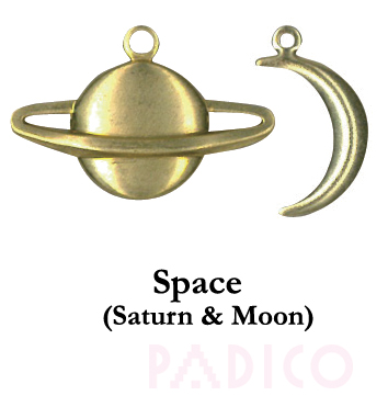 Brass Charm: Saturn & Moon