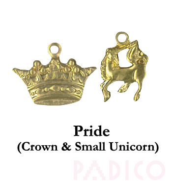 Brass Charm: Crown & Small Unicorn