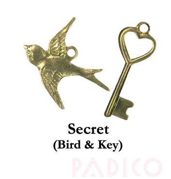 Brass Charm: Bird & Key